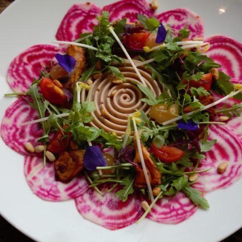 Vegetarisch voorgerecht menukaart Brasserie Blush (Kamperland): bietencarpaccio